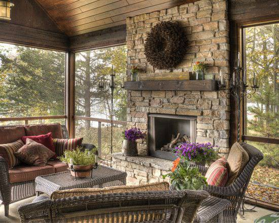Rustic Porch with Fire Place