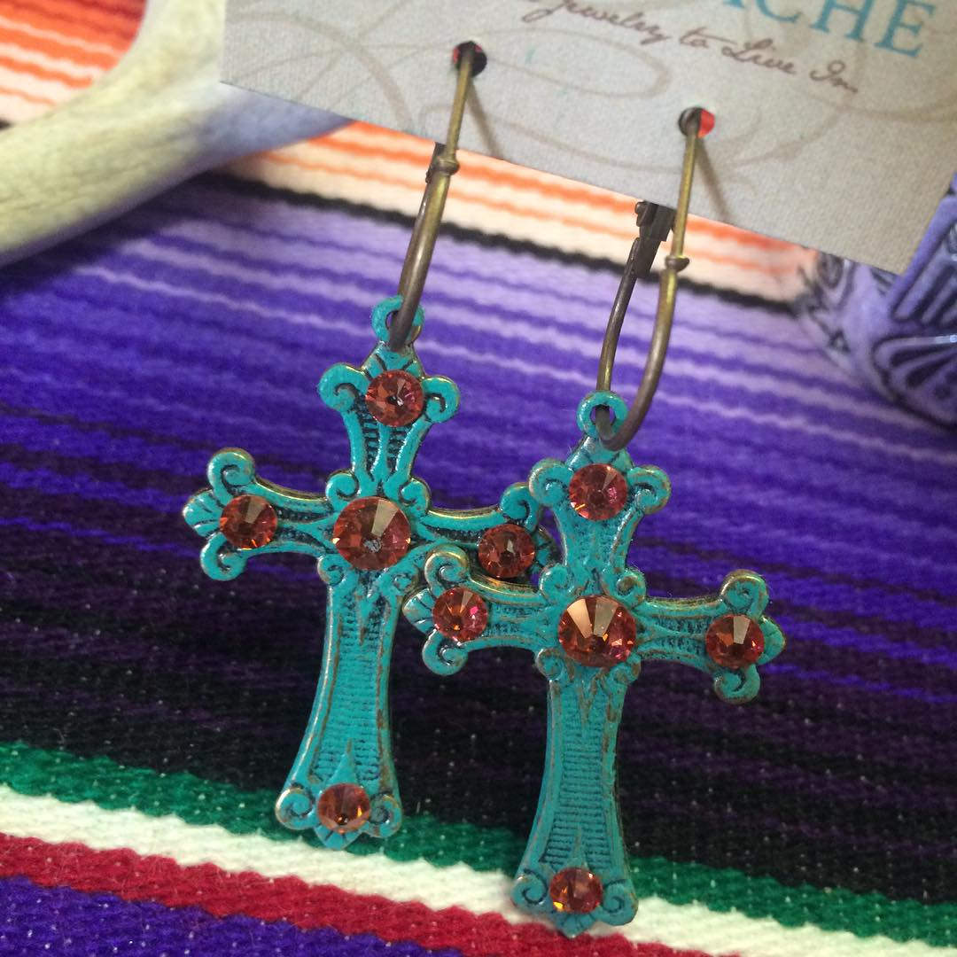 Coral Pink Cross Earrings