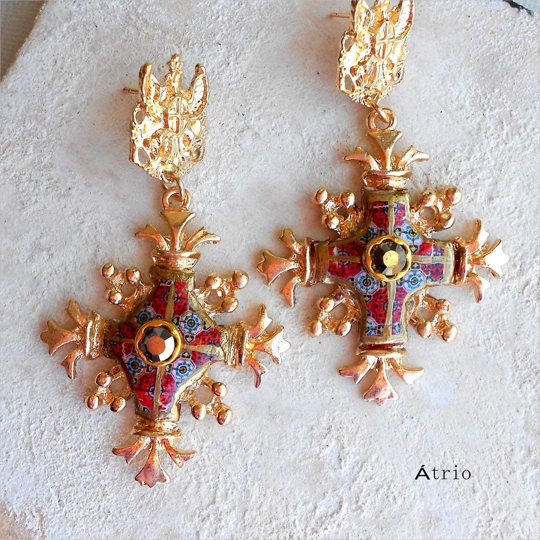 Gold Color Cross Earrings