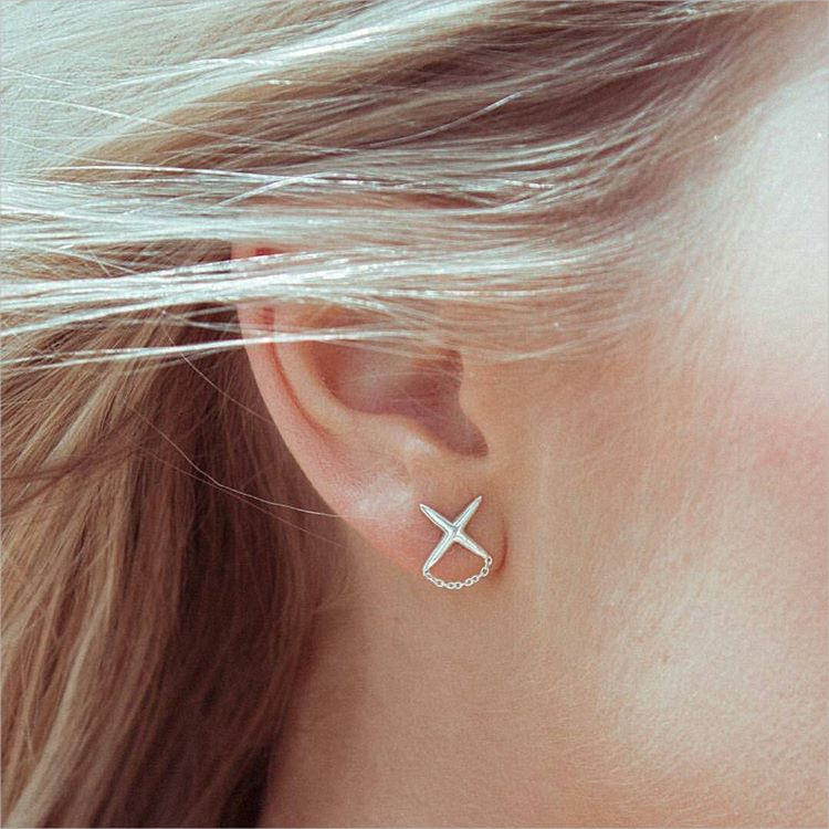 Tiny Silver Cross Earrings