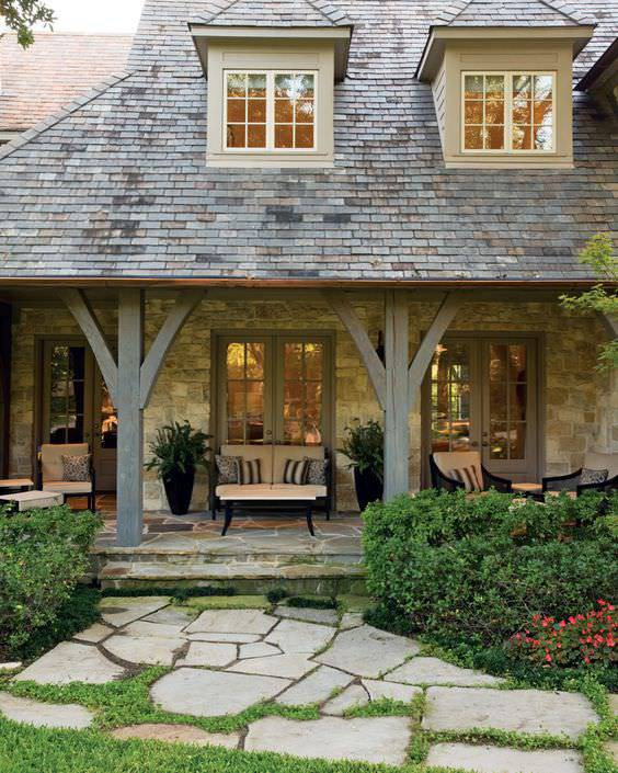 33 best rustic porch designs home designs design for Small french country homes