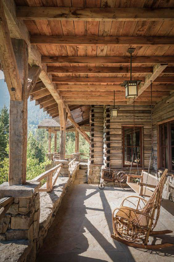 rustic porch with furnture design