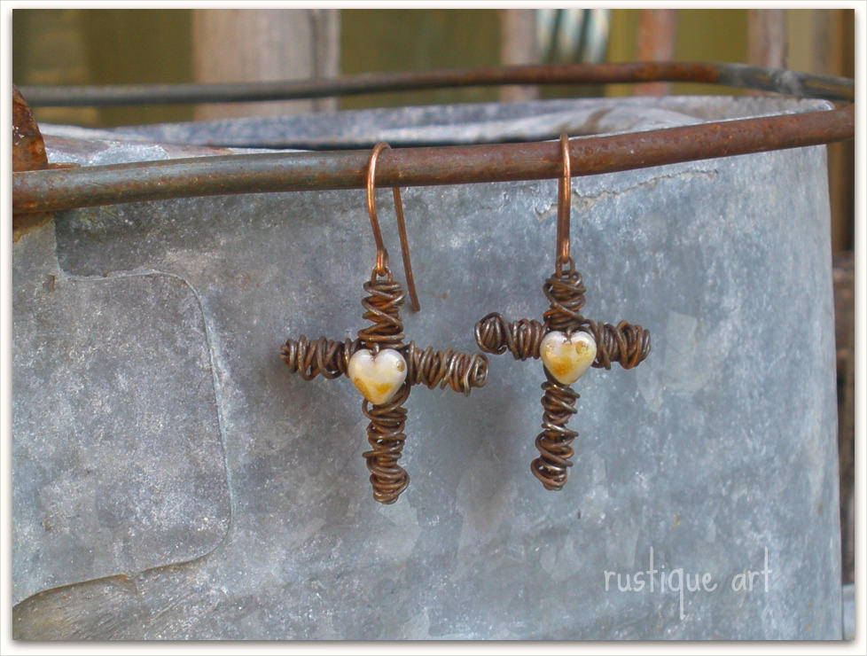 Rustic Cross Earrings