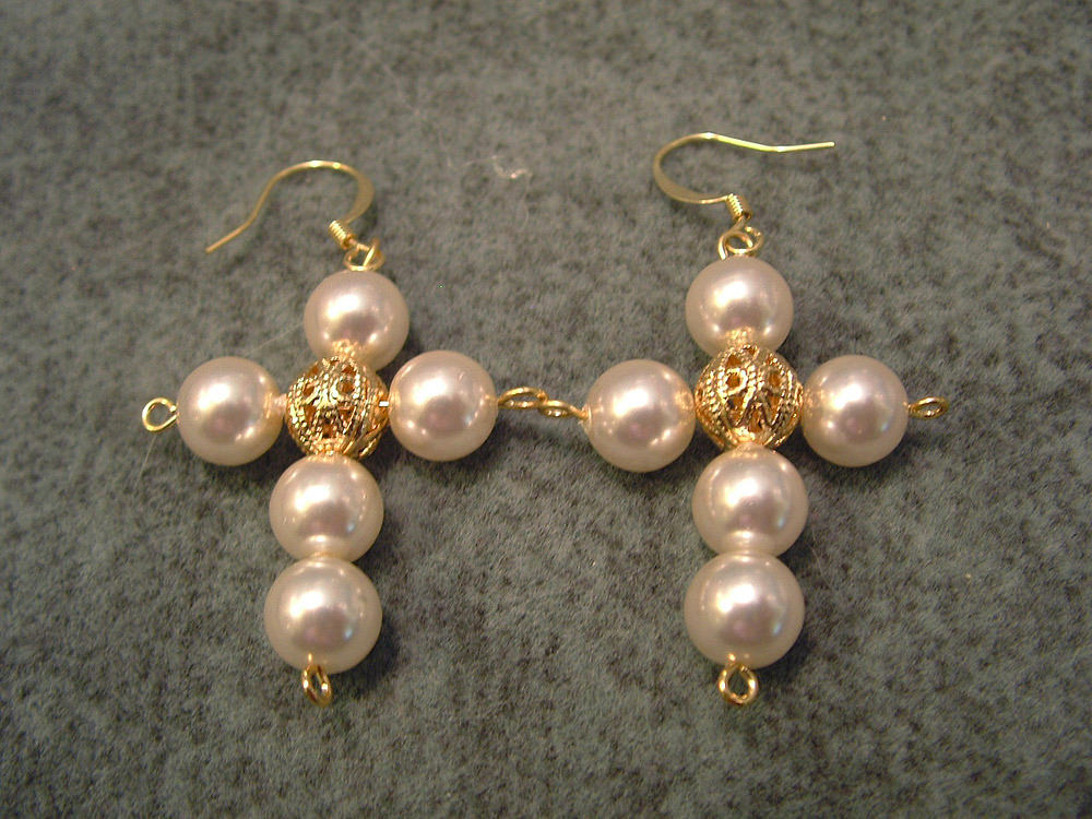Pearls Cross Earrings
