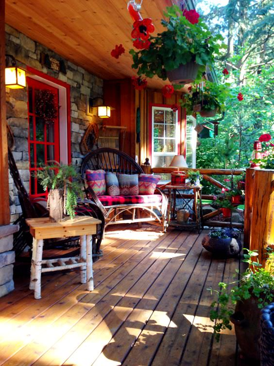 beautiful rustic porch with chairs