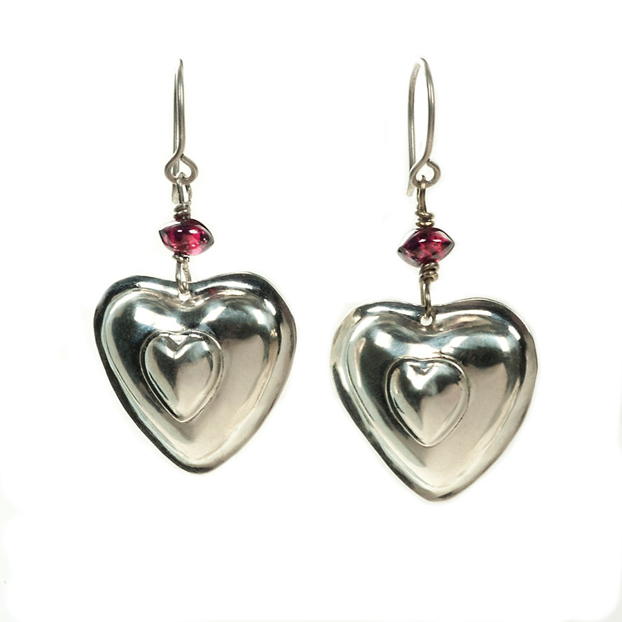 cute heart shape sliver earrings