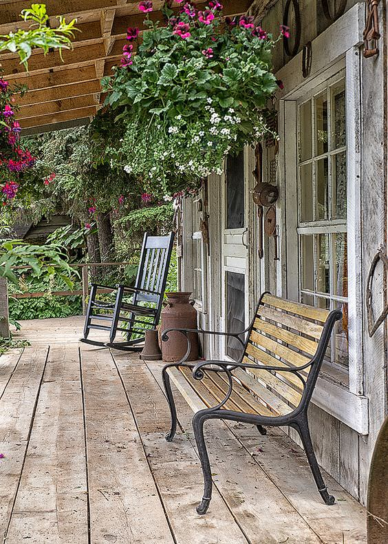 Rustic Porch with Benches