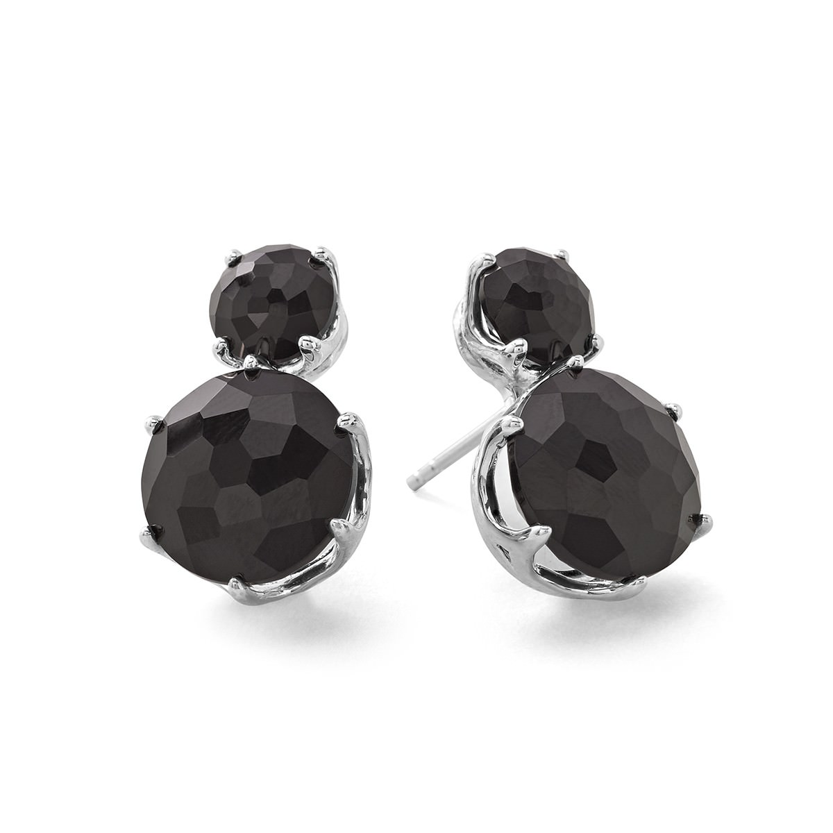 fancy black color silver earrings