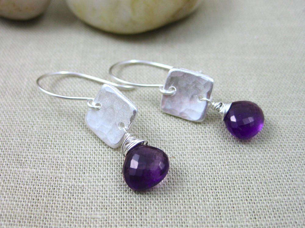 Purple Beads Cute Earrings