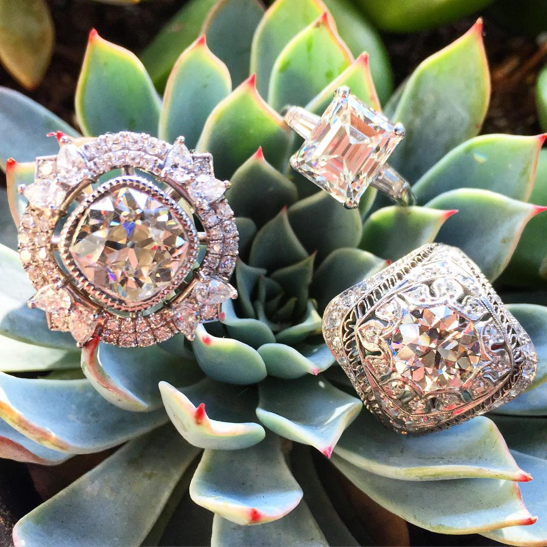Amazing Trio Set Of Antique Diamond Rings