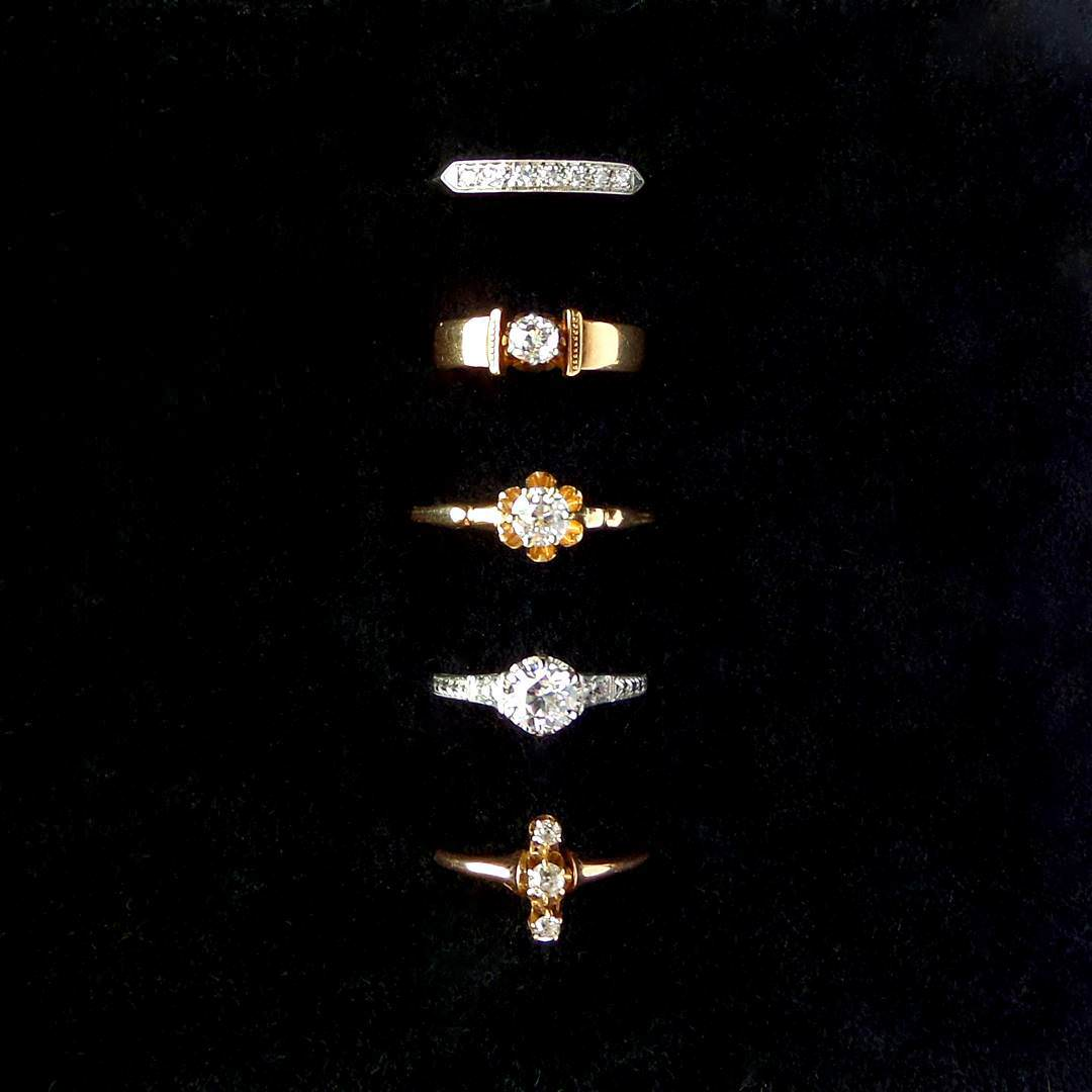 Awsome Set of Antique Diamond rings