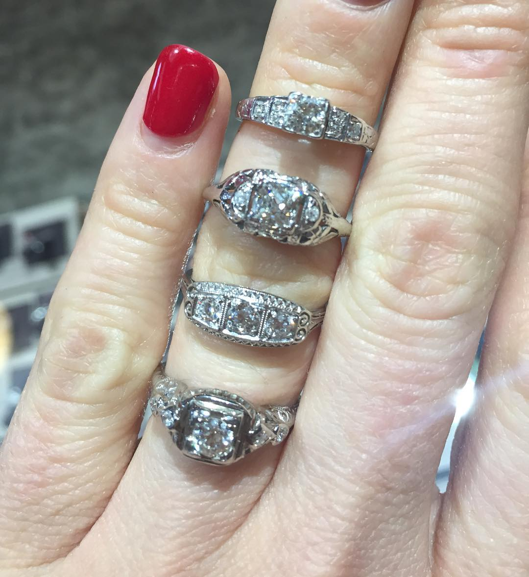 Set of Sparkling Antiquw DIamond Rings