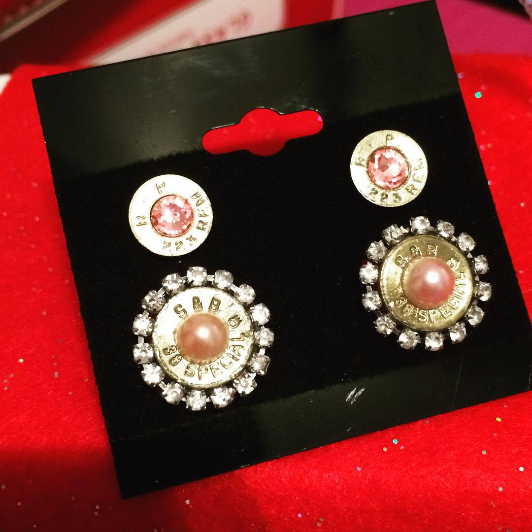 pink studs bullet earrings