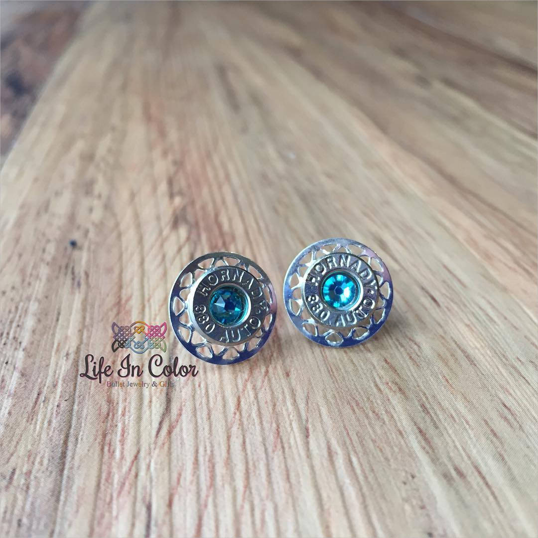 Blue Stone Bullet Earrings