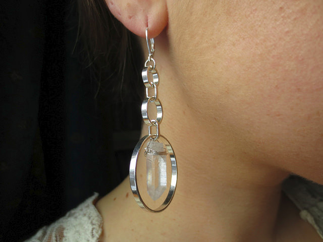 White Bullet Earrings