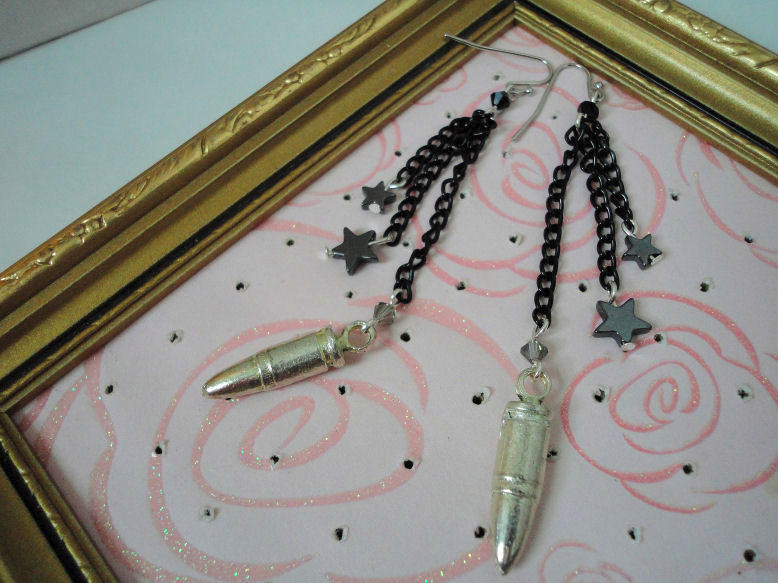 black enameled chain bullet earrings