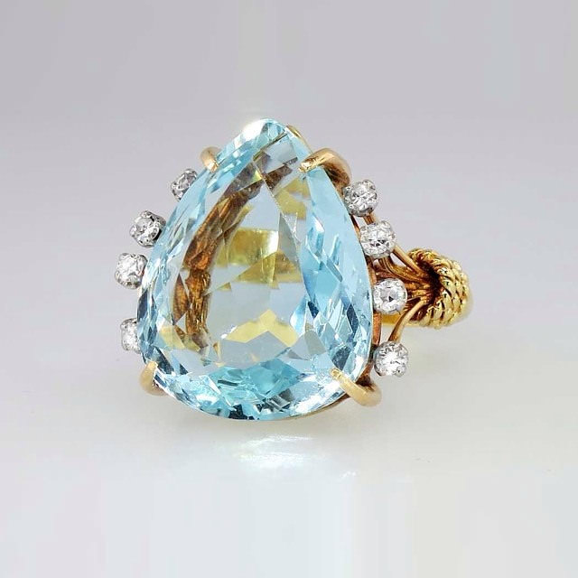 Flat Solid Blue Pearl Antique Diamond Ring