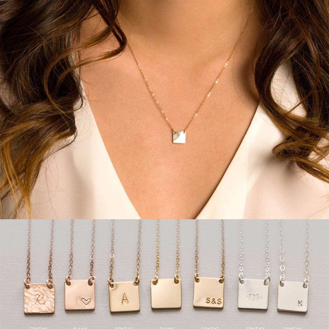 Collection of Minimalist Necklace With Square Shape Pendant