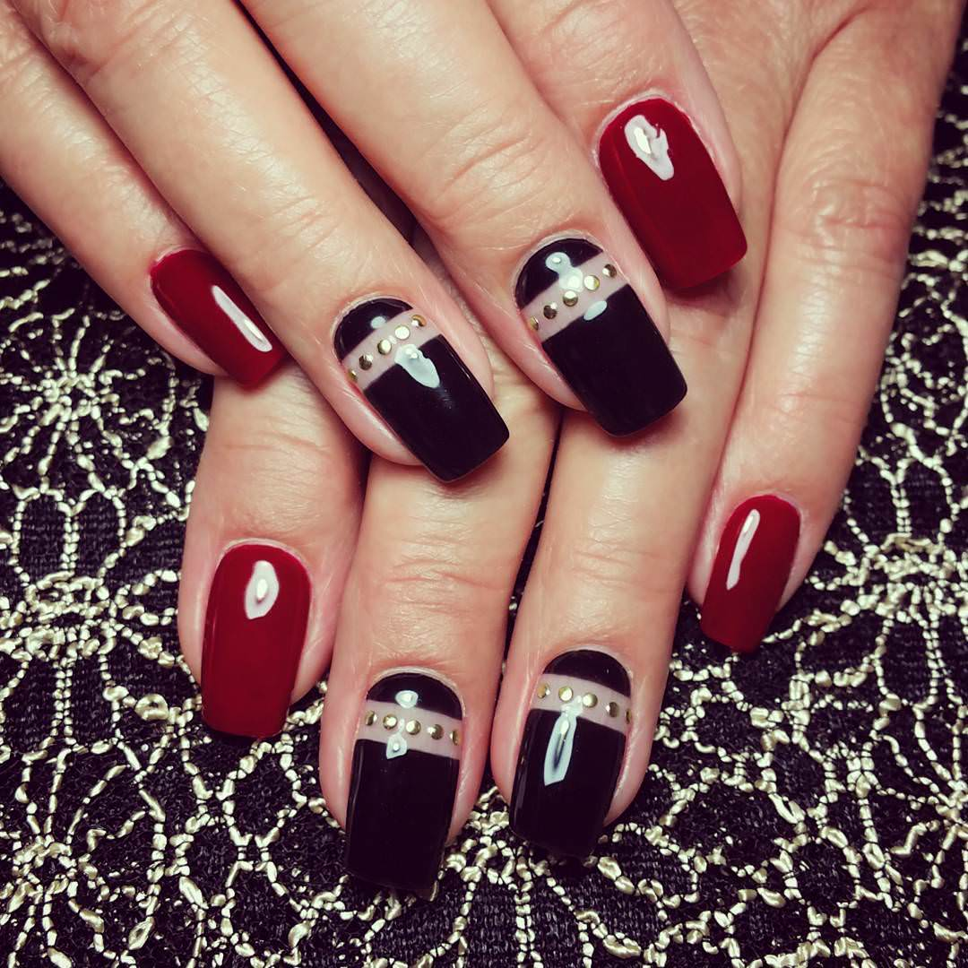 Black Nail Art: 29+ Red And Black Nail Art Designs, Ideas