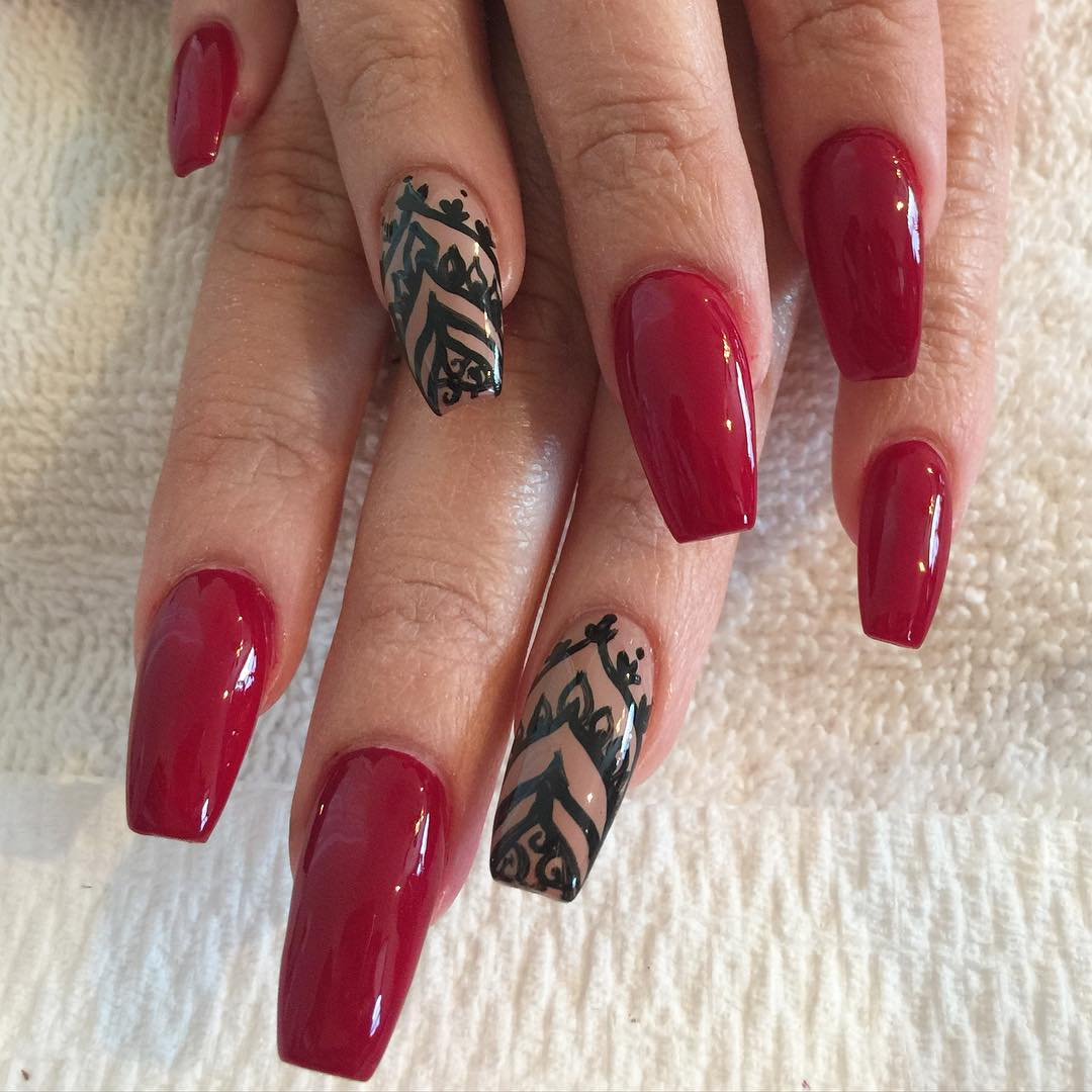 Elegant Nail Art Design - 29+ Red And Black Nail Art Designs, Ideas Design Trends