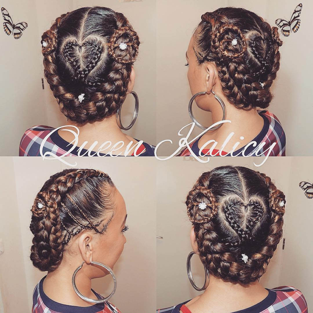 Cornrow Hairstyle With Lovely Heart
