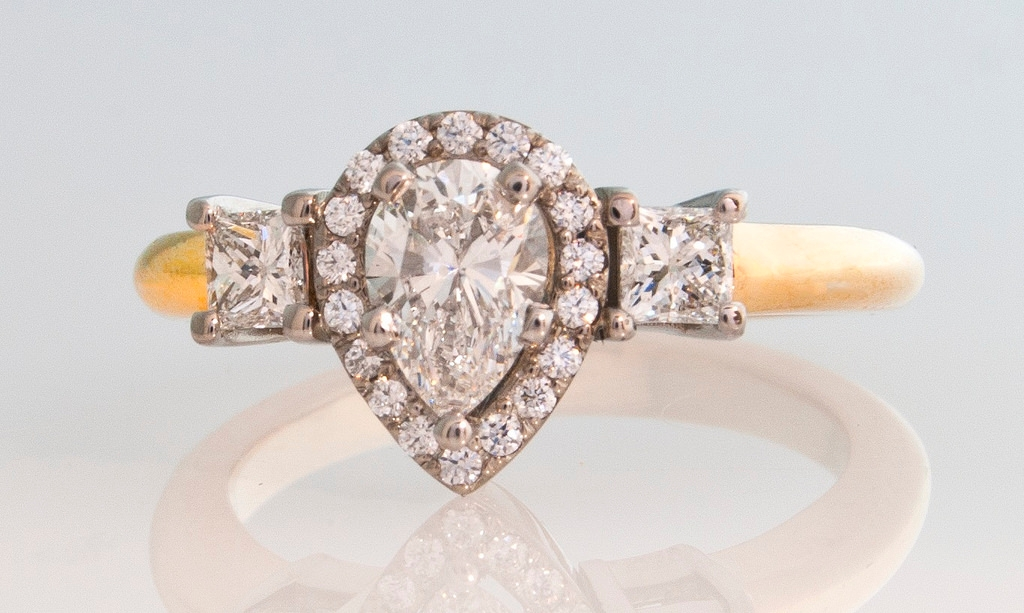 radiant sparkling pear diamond ring