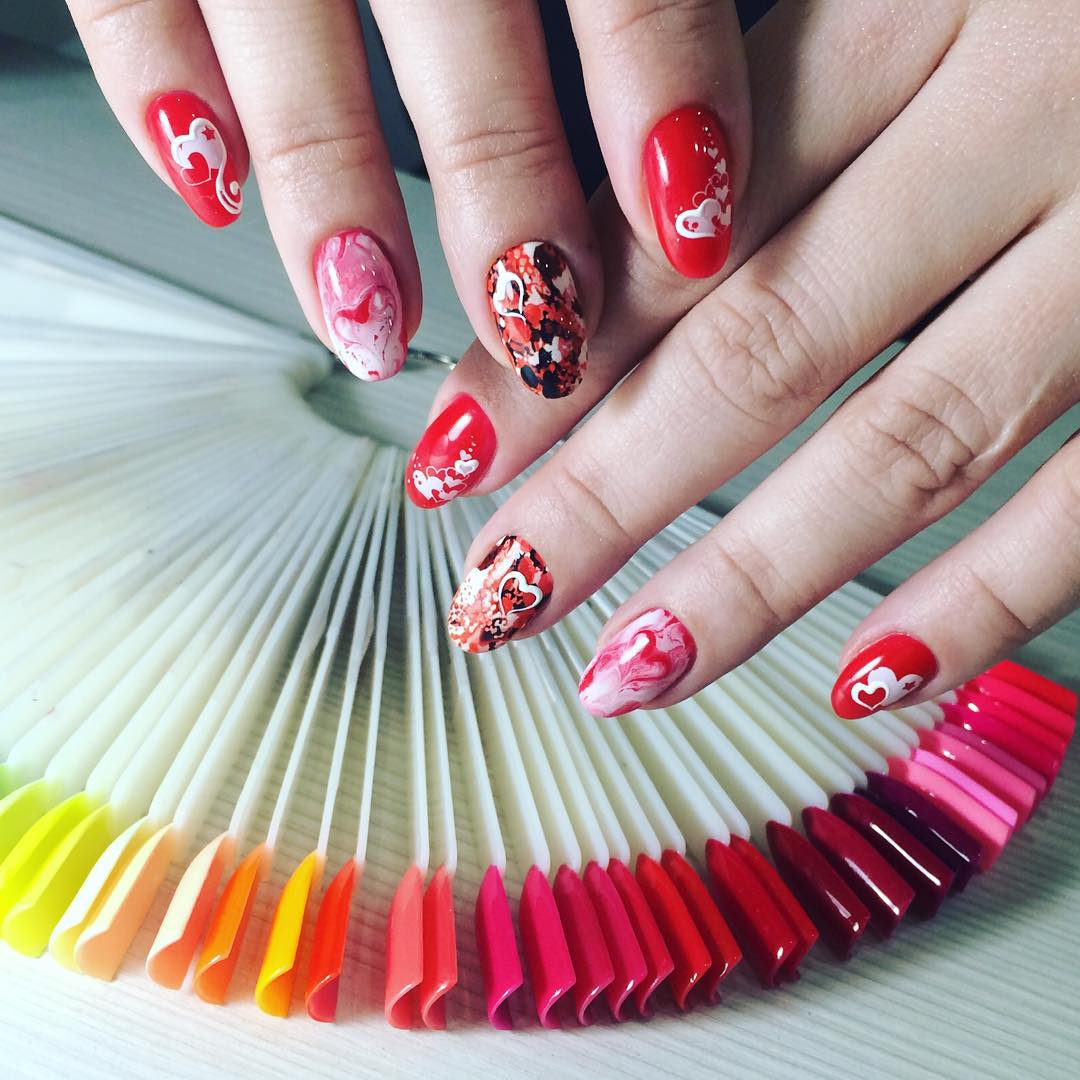 colorful red and black nail design