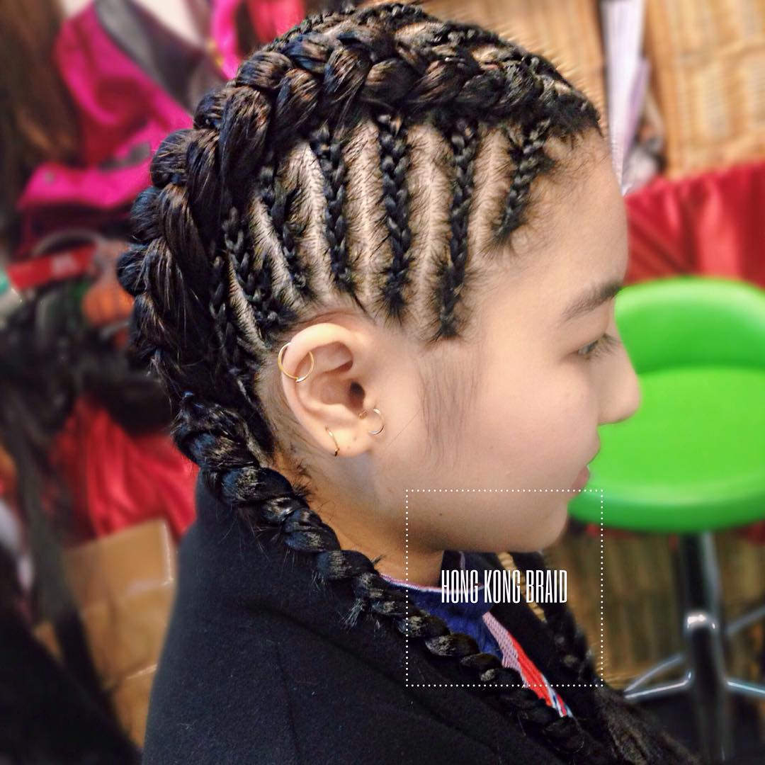 Side Braided Cornrow Hairstyle