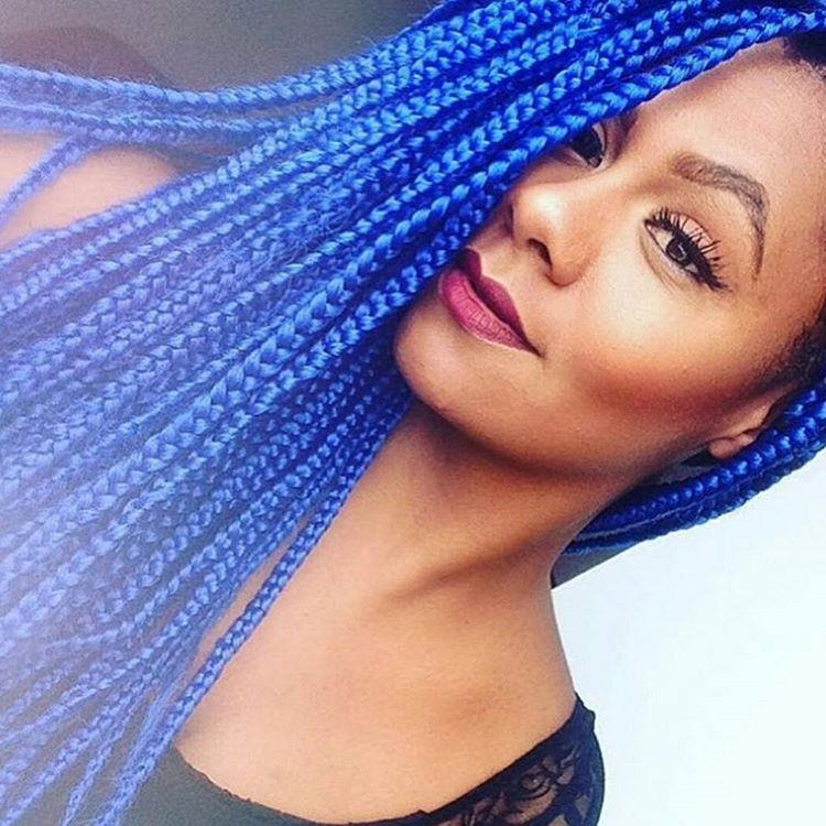 Blue Color Cornrow Hairstyle