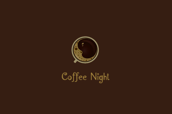 coffee night cafe logo design