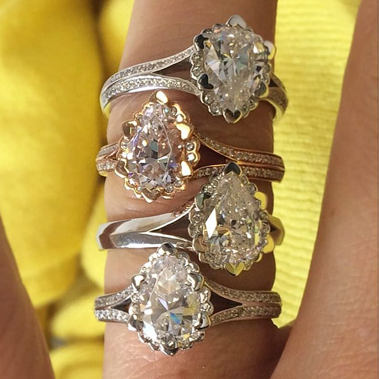 amazing collection of pear diamond rings