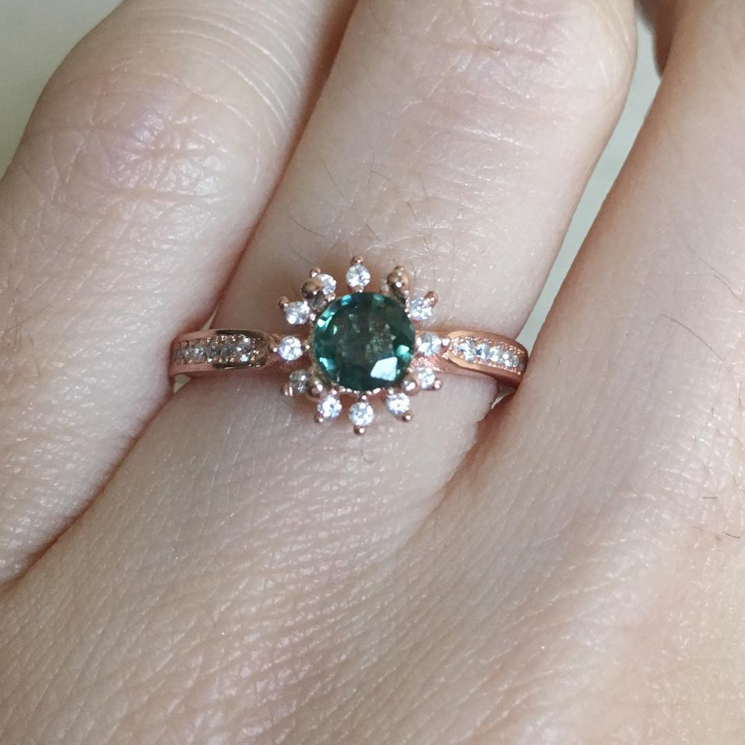 round ring stone personalized diamond for engagement her green il wedding bridal ball emerald him custom fullxfull rose gold prong rings