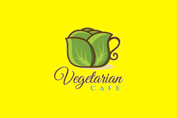vegitarian cafe logo design1