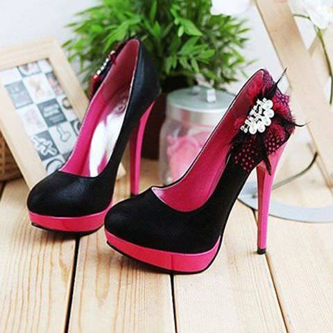 Pink And Black High Heels.