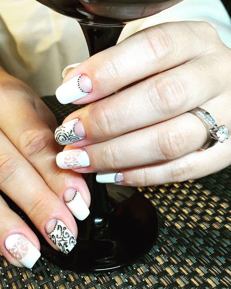 white nail art for wedding