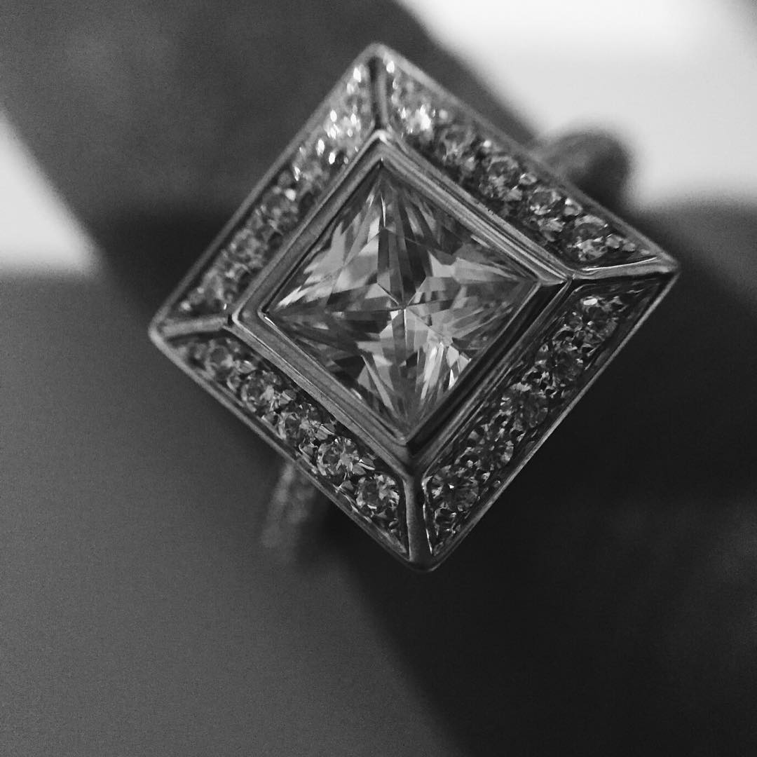 modern timeless square diamond ring