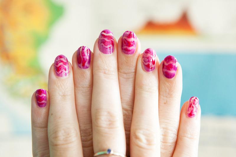 pink wedding nail design