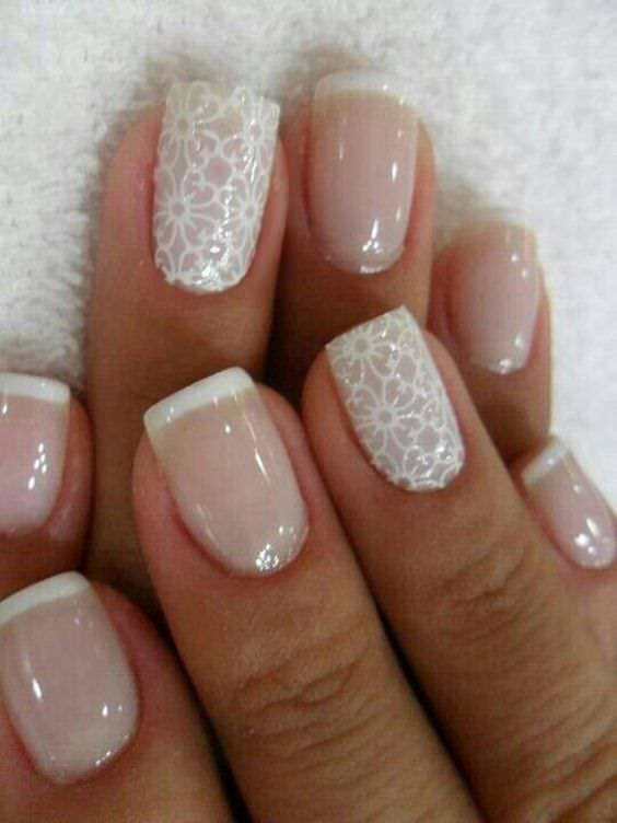 Neutral and Lace Nail Design