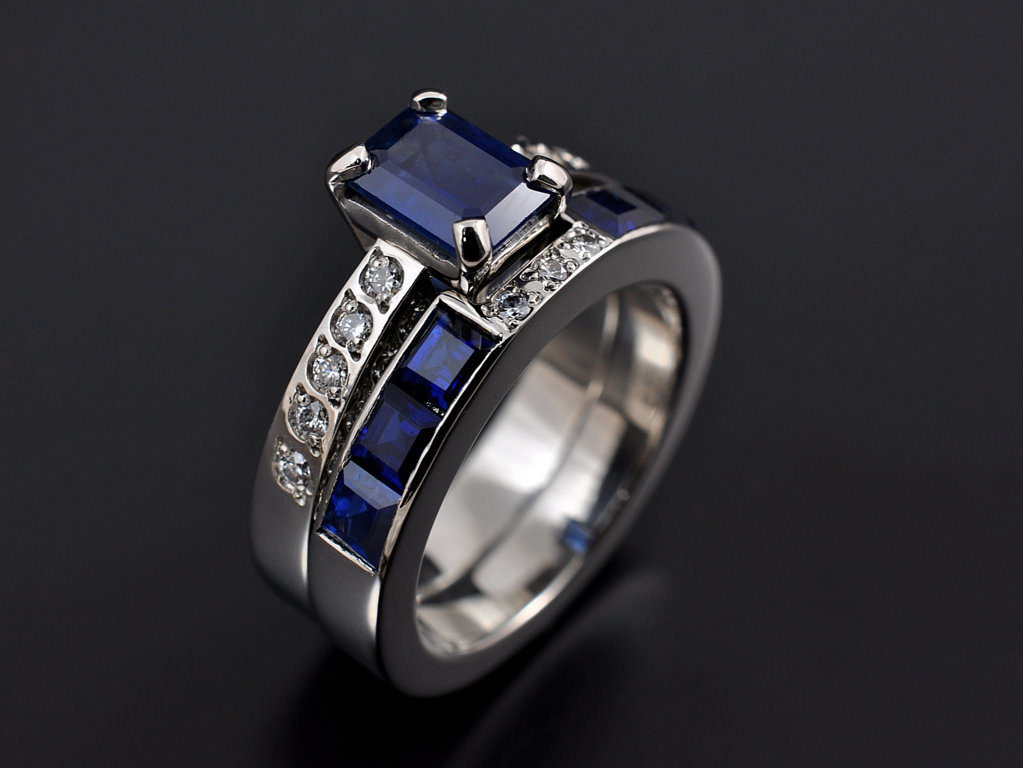 Beautiful Blue Square Diamond Ring