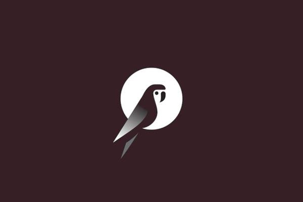 moon and parrot logo design