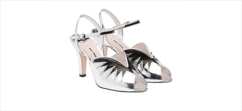 black lines on silver heels