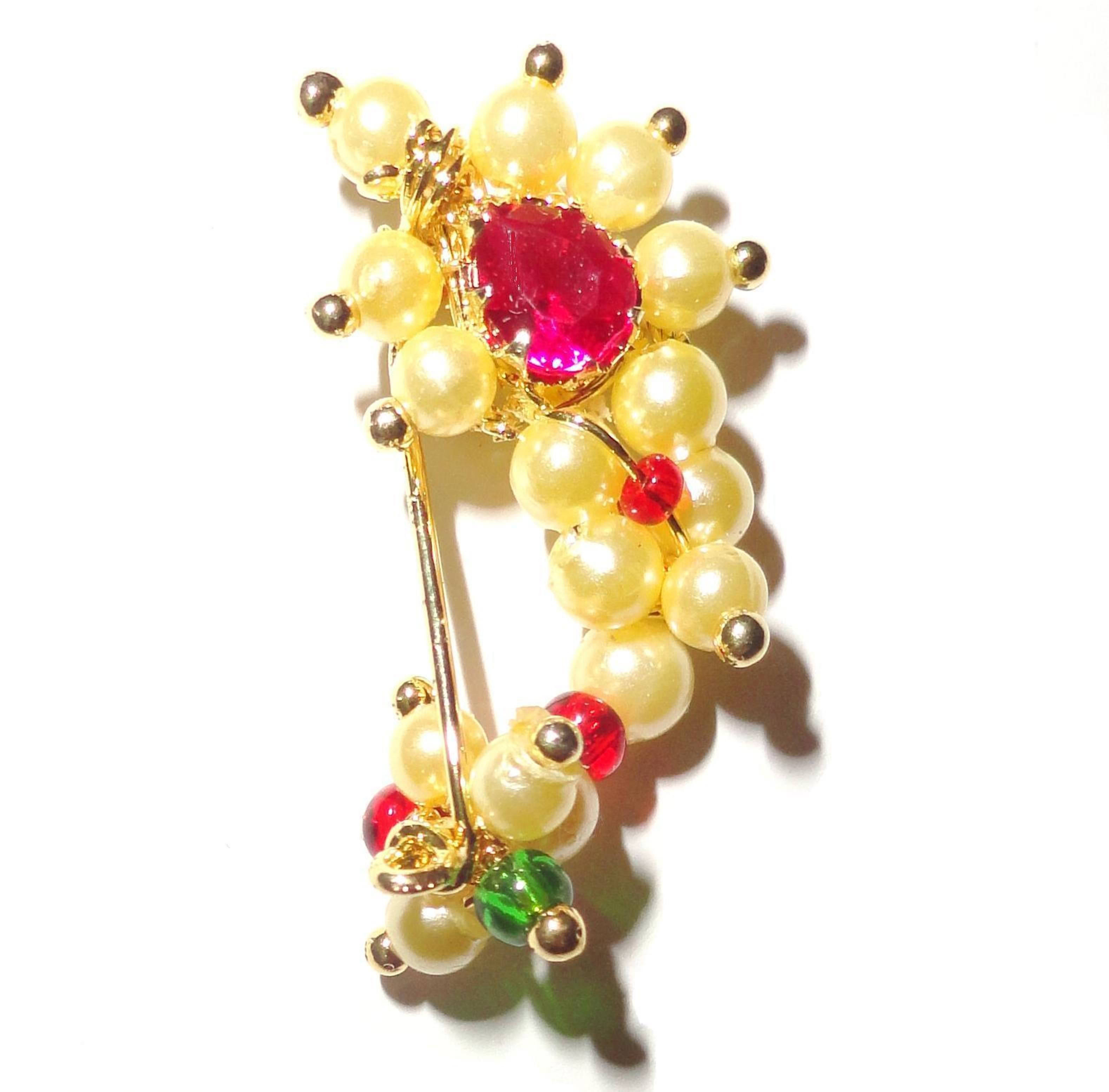 nath clip type maharashtrian nose ring of pearl beads