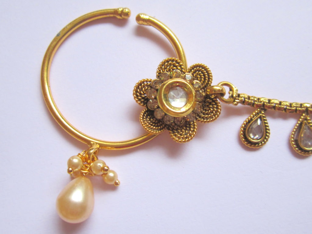Flower Design Gold Tone Polki Nose Ring