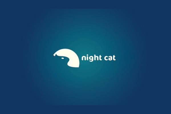 Night Cat Moon Logo Design