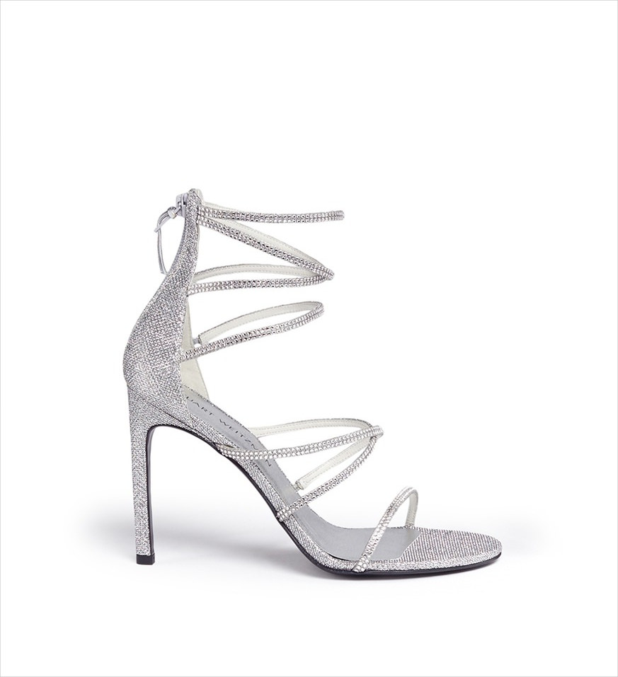 shining silver heels