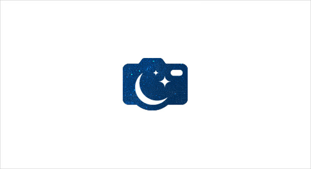 Blue camera logo with white background