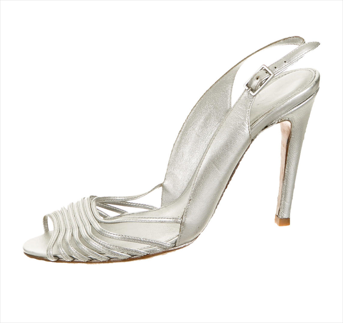 Closed Toe Silver High Heels