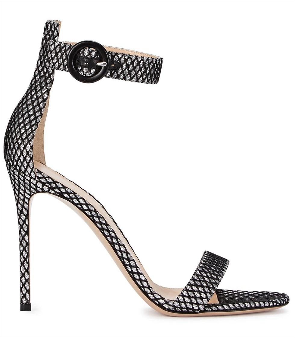 silver glittered high heels1