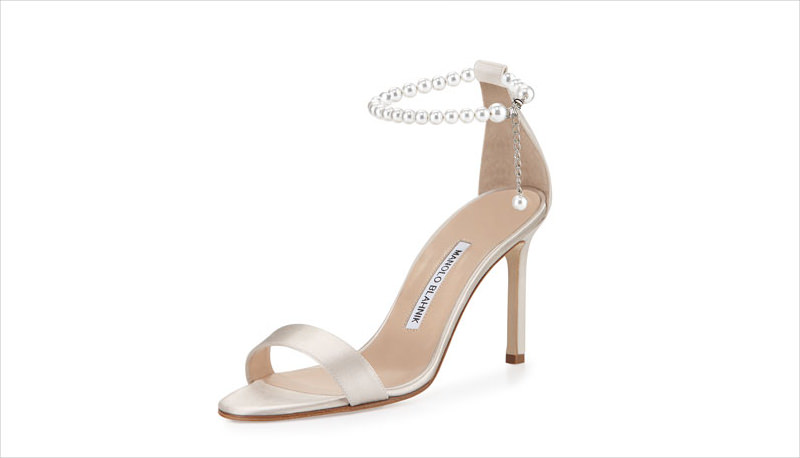 pearl back silver heel