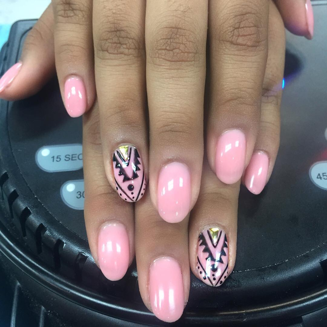 Pink with Black Tribal Art